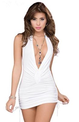 Ostenx Sexy Nachtkleid Nachthemd Reizwäsche Dessous Babydoll Unterwäsche V-Ausschnitt Rückfrei (Weiß) - 1