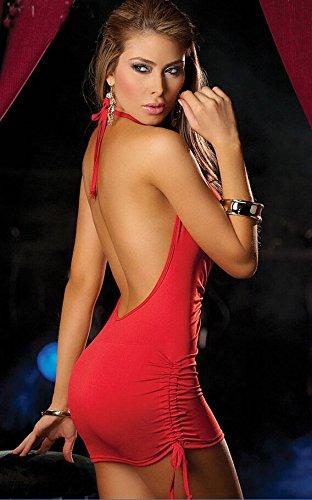 Ostenx Sexy Nachtkleid Nachthemd Reizwäsche Dessous Babydoll Unterwäsche V-Ausschnitt Rückfrei (Rot) -