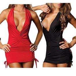 Ostenx Sexy Nachtkleid Nachthemd Reizwäsche Dessous Babydoll Unterwäsche V-Ausschnitt Rückfrei (Y:schwarz+rot) -