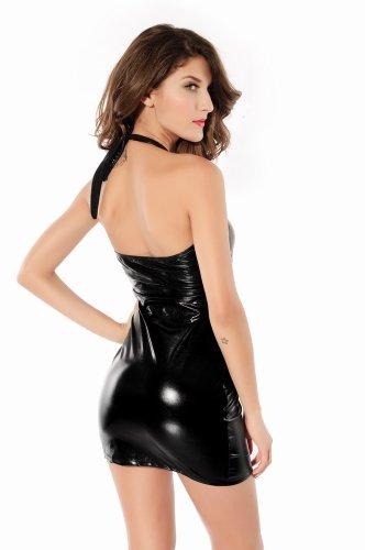 Ostenx Sexy Neckholder Wetlook Minikleid Lack Leder Latex Look Clubwear Abendkleid Party Dress Nachtkleid Stretchkleider Gt. S/M 36 38 - 3