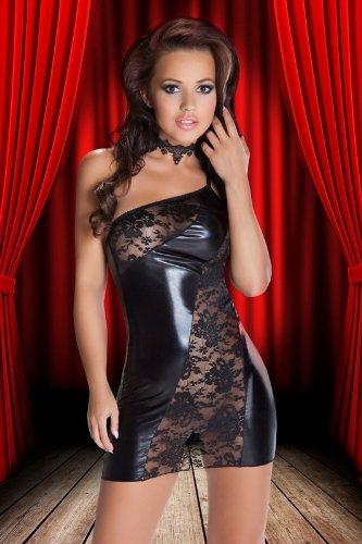 Ostenx Sexy V Ausschnitt Minikleid Spitzen Mini Kleid mit 3/4 langen Ärmeln Abendkleid Schwarz und Weiss Gt. S/M 36 38 -