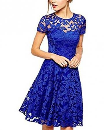 OYMMENEY Blau, EU S (Label M) Damen Kleid mit Spitze Sommerkleid shirt tunika tunikakleid Bluse Oberteil Damenbluse Kleider Top Kurz Knielang Fruehling Herbst -