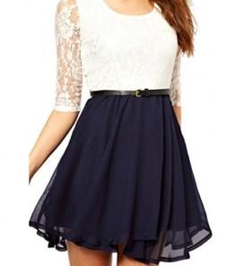 OYMMENEY Damen Kleid mit Spitze Sommerkleid shirt Tunika tunikakleid Bluse Oberteil Damenbluse Kleider Top Kurz Knielang Sommer -