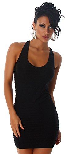 P.F. Damen Träger-Minikleid einfarbig mit Streifenoptik & Stickerei, schwarz Größe 32-38 - 1