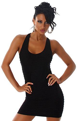 P.F. Damen Träger-Minikleid einfarbig mit Streifenoptik & Stickerei, schwarz Größe 32-38 - 2
