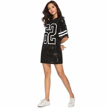 Paillettenkleid Frauen Casual Digital Print Lose Soft Rundhalsausschnitt Schaukel Baseball Langes T-Shirt,Black,XL - 2