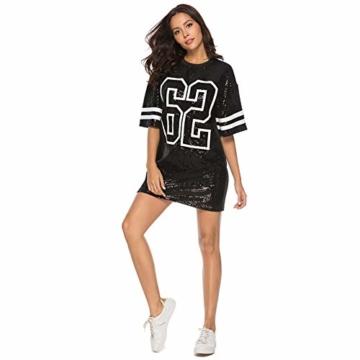 Paillettenkleid Frauen Casual Digital Print Lose Soft Rundhalsausschnitt Schaukel Baseball Langes T-Shirt,Black,XL - 3