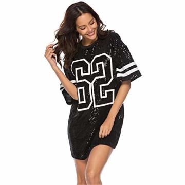 Paillettenkleid Frauen Casual Digital Print Lose Soft Rundhalsausschnitt Schaukel Baseball Langes T-Shirt,Black,XL - 1