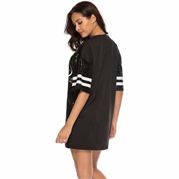 Paillettenkleid Frauen Casual Digital Print Lose Soft Rundhalsausschnitt Schaukel Baseball Langes T-Shirt,Black,XL - 6