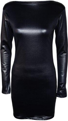 PaperMoon - Damen Nass Effekt Glänzend Figurbetontes Kleid - Schwarz - 40-42 -