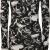 PaperMoon - Damen Totenkopf Rosen Druck Langarm Figurbetontes Mini-Kleid Top - Schwarz Weiß - 40-42 - 1