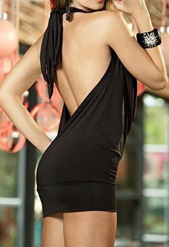 Paplan Damen Deep V Halter-Wäsche-Rock Backless Hip-huggers -
