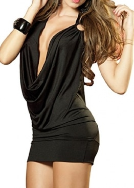 Paplan Damen Deep V Halter-Wäsche-Rock Backless Hip-huggers -