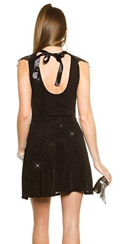Partykleid mit Glitzer und Stickerei One Size 34 36 38 Schwarz - 2