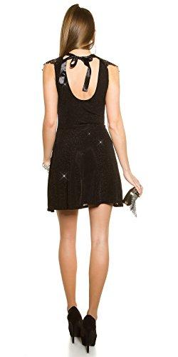 Partykleid mit Glitzer und Stickerei One Size 34 36 38 Schwarz - 4