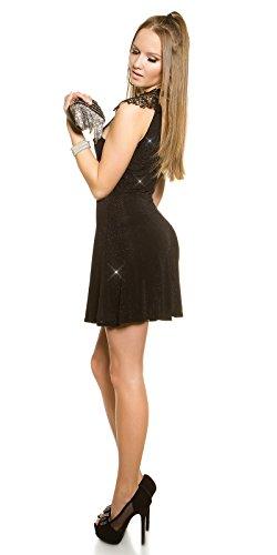 Partykleid mit Glitzer und Stickerei One Size 34 36 38 Schwarz - 7