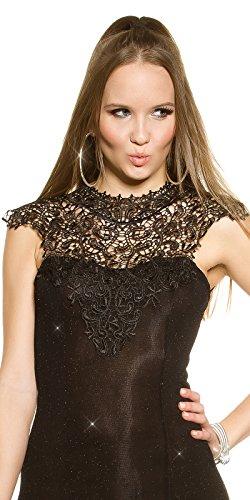 Partykleid mit Glitzer und Stickerei One Size 34 36 38 Schwarz - 8