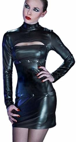 Patrice Catanzaro Schwarzes extravagantes Kleid aus mattem Wetlook in Latex Optik Rockteil und Brustteil abtrennbar (XXL) - 1