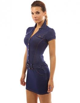 PattyBoutik Damen Jeans Style V-Ausschnitt Polo Kragen Minikleid mit gefälschten Taschen und Gürtel verziert (blau 36/S) -