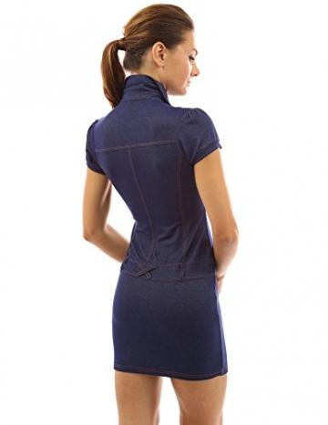 PattyBoutik Damen Jeans Style V-Ausschnitt Polo Kragen Minikleid mit gefälschten Taschen und Gürtel verziert (blau 46/XL) -