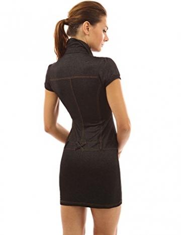 PattyBoutik Damen Jeans Style V-Ausschnitt Polo Kragen Minikleid mit gefälschten Taschen und Gürtel verziert (schwarz 40/M) -