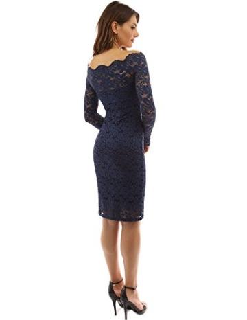PattyBoutik Damen Schulterfreies Etuikleid mit geblumter Spitze (dunkelblau 36/S) - 2