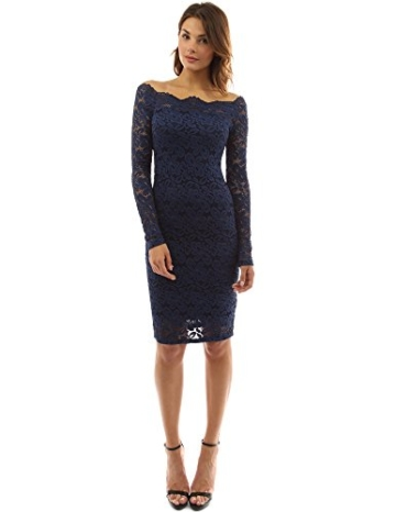 PattyBoutik Damen Schulterfreies Etuikleid mit geblumter Spitze (dunkelblau 36/S) - 3