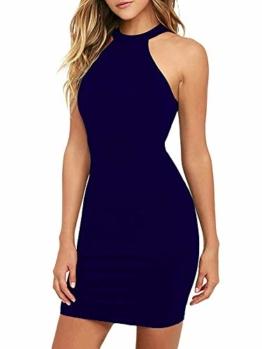 POGTMM Minikleider Damen Rückenfrei Spitzen Cocktail Kleider Elegantes Bleistiftkleid (Navy Blau S) - 1