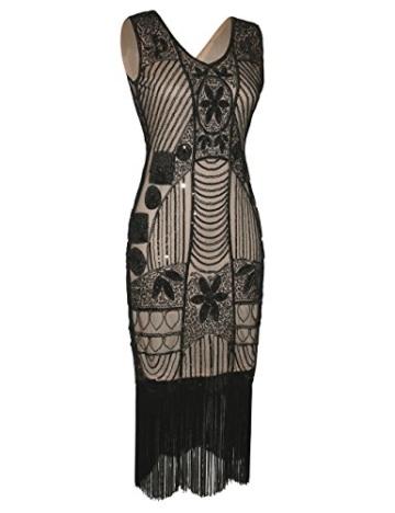 PrettyGuide Damen 1920er Gatsby Pailletten Art Deco Fransen Cocktail Flapper Kleid S Schwarz beige - 2