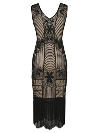 PrettyGuide Damen 1920er Gatsby Pailletten Art Deco Fransen Cocktail Flapper Kleid S Schwarz beige - 3