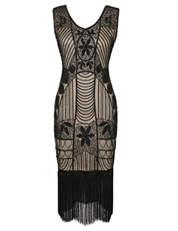 PrettyGuide Damen 1920er Gatsby Pailletten Art Deco Fransen Cocktail Flapper Kleid S Schwarz beige - 1