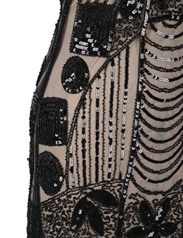 PrettyGuide Damen 1920er Gatsby Pailletten Art Deco Fransen Cocktail Flapper Kleid S Schwarz beige - 5