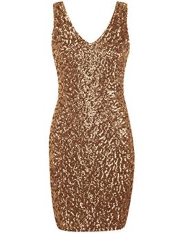 PrettyGuide Damen reizvoller tiefer V-Ausschnitt Pailletten Glitzer Bodycon Stretchy Minipartei-Kleid Gold - 1