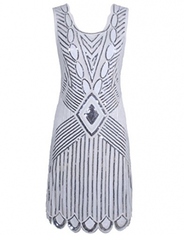 PrettyGuide Women 1920s Gatsby Sequin Art Deco Scalloped Hem Inspired Flapper Dress White L -