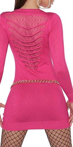 Pullover Langarm Strickkleid Longpulli Langarmpullover 0000ISF0607 S/L Pink - 1
