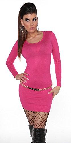 Pullover Langarm Strickkleid Longpulli Langarmpullover 0000ISF0607 S/L Pink - 2
