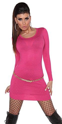 Pullover Langarm Strickkleid Longpulli Langarmpullover 0000ISF0607 S/L Pink - 3