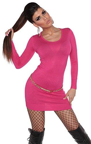 Pullover Langarm Strickkleid Longpulli Langarmpullover 0000ISF0607 S/L Pink - 4