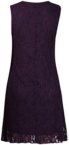 Purple Hanger - Damen Minikleid Blumen Spitze Ärmellos Rundhals Ausschnit Kurz Mini Kleid Übergröße Neu - EU 44/46, Lila - 2