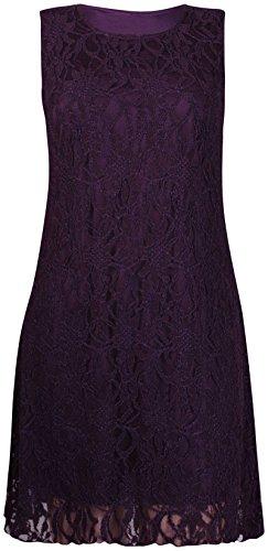 Purple Hanger - Damen Minikleid Blumen Spitze Ärmellos Rundhals Ausschnit Kurz Mini Kleid Übergröße Neu - EU 44/46, Lila - 3