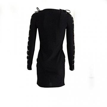 pusheng Damen Minikleid Langarm bodycon Clubwear Abendkleid V-Ausschnitt Spitze-Minikleid Bodycon Figurbetontes Kleid Schwarz/weiß 2 Farben (XL, schwarz) -