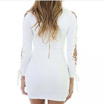 pusheng Damen Minikleid Langarm bodycon Clubwear Abendkleid V-Ausschnitt Spitze-Minikleid Bodycon Figurbetontes Kleid Schwarz/weiß 2 Farben (M, weiß) -