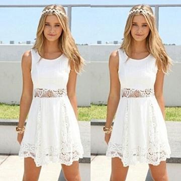 Qissy® Damen Sommerkleid Strandkleid Rundhals Ausschnitt ärmellos Chiffon Spitze Stitching eng Taille Rock Frauen Partykleid (S, Weiß) - 2