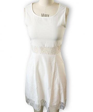 Qissy® Damen Sommerkleid Strandkleid Rundhals Ausschnitt ärmellos Chiffon Spitze Stitching eng Taille Rock Frauen Partykleid (S, Weiß) - 3