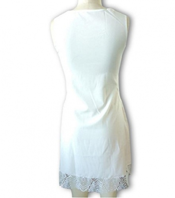 Qissy® Damen Sommerkleid Strandkleid Rundhals Ausschnitt ärmellos Chiffon Spitze Stitching eng Taille Rock Frauen Partykleid (S, Weiß) - 4