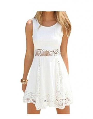 Qissy® Damen Sommerkleid Strandkleid Rundhals Ausschnitt ärmellos Chiffon Spitze Stitching eng Taille Rock Frauen Partykleid (S, Weiß) - 1