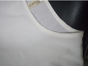 Qissy® Damen Sommerkleid Strandkleid Rundhals Ausschnitt ärmellos Chiffon Spitze Stitching eng Taille Rock Frauen Partykleid (S, Weiß) - 6