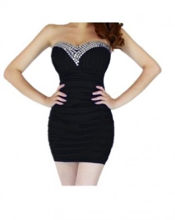 Qiyun Der Bling Strass Perlen Short Prom Damen Tunika Clubwear trägerloses Cocktailkleid Abendkleid - Schwarz Damen Kleider - 1