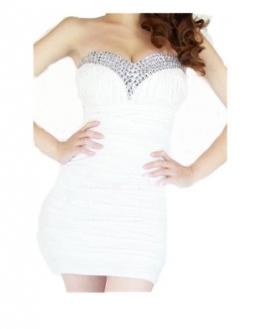 Qiyun Der Bling Strass Perlen Short Prom Damen Tunika Clubwear trägerloses Cocktailkleid Abendkleid - Wei?Damen Kleider - 1