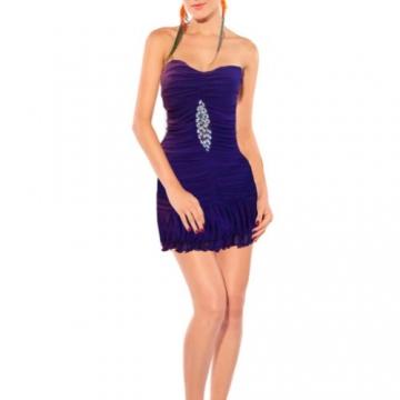 Qiyun Frauen Tiered Rüschen Trägerlosen Stretch Bodycon Bling Pailletten Nacht Clubwear Kurzen Kleid Rot Damen Kleider - 1